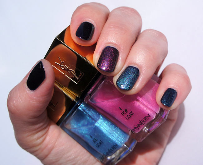YSL La Laque Couture Tie & Dye: Pop Coat 02, Ice Coat 04 over Chanel Taboo