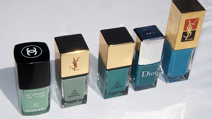 Chanel Jade, YSL Ja de Imperial & Vert D'Orient, Dior Nirvana, YSL Turquoise Blue