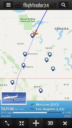 Слежу за полетом самолета Аэрофлота - в ЛА из Москвы путь неблизкий!