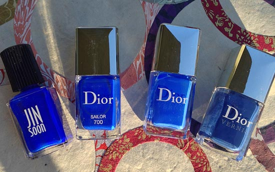 Слева направо: Jin Soon Blue Iris, Dior Sailor, Blue Electric, Tuxedo